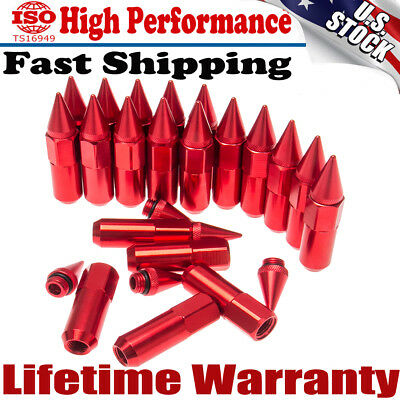 Top 20X Red M12X1.5 Cap Spiked Extended Tuner 60mm Aluminum Wheels Rims Lug Nuts