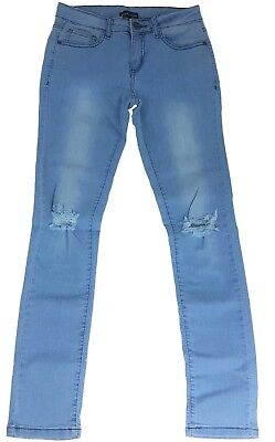 Girls' Slim Fit Jeans Blue Light Washed Ripped Denim Pants Trousers 7-14 Years