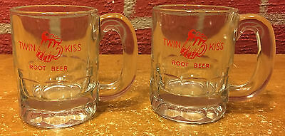 2 Vintage Miniature Mugs  Twin Kiss Root Beer  Hazel Atlas
