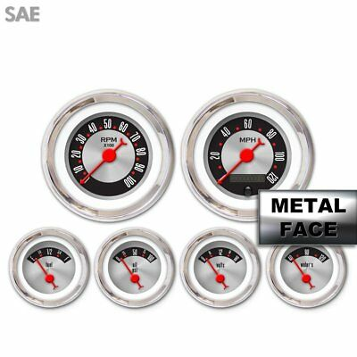 6 Gauge Set Speedo Tach Oil Temp Fuel Volt Retro Rod Red Chrome Needles LED hot