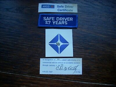 Atlantic Richfield Co.Safe Driver Patch- 27 Year Pin and Certificate
