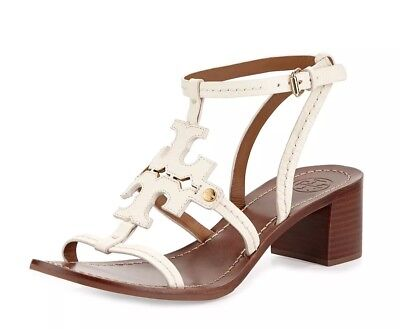 a66e91f9a New TORY BURCH Chandler 45MM Tumbled Leather Logo Sandals Summer Ivory 10.5   275