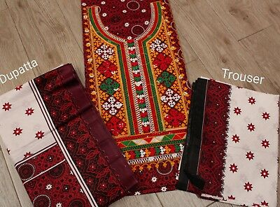 Pakistani /indian Sindhi Ajrak Traditional Suit with Aar Embroidery Unstitched