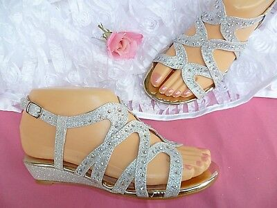 Silver Girls Evening Party Sandals Sizes: 9-4