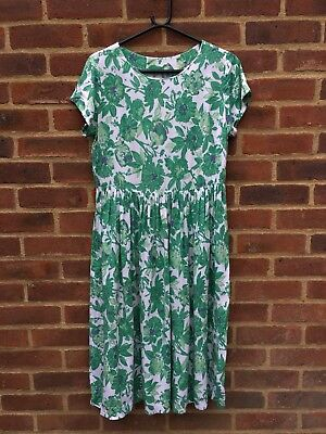 Vintage Original 1950s Green Floral Cotton Dress Handmade 12 Events Or Occasions