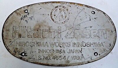 Marine Vintage Ship Brass Name Plate- Hitachi Zosen Hiroshima Works Japan - B30