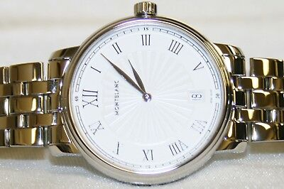 1f90fb9a5 Montblanc Tradition Date White Guilloche Dial Stainless Steel Men's Watch  112636