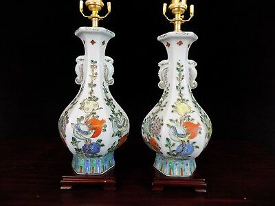 """26""""  Pair Of Antique Chinese Porcelain Vase Lamps"""
