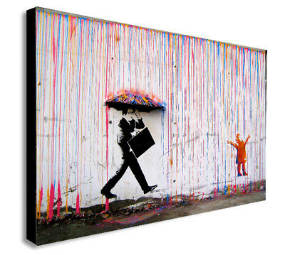 BANKSY Coloured Rain - CANVAS WALL ART Picture Print - Various Sizes