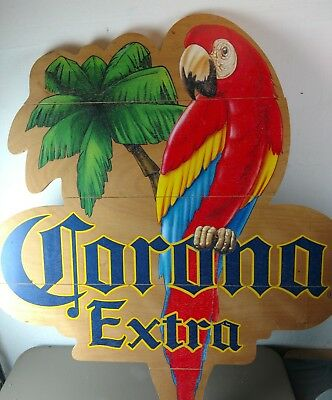 DISMANTLED Wood Corona Parrot Sign -HUGE- item taken apart for shipping!