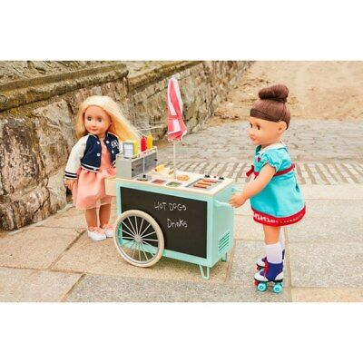 Our Generation Retro Food Cart and 53 Accessories NEW