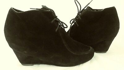 00b1de5edc88 Dolce Vita Wos Boots Ankle US 10 Black Suede Lace Wedge Moc Toe Booties 116