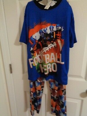 NWT Children's Place Football  pajama set ss shirt long pants size 10-12