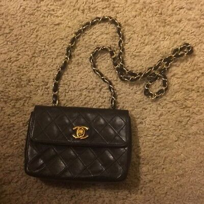 4c324233127a AUTH Vintage Chanel Black Mini Micro Quilted Chain Shoulder Bag Double Flap