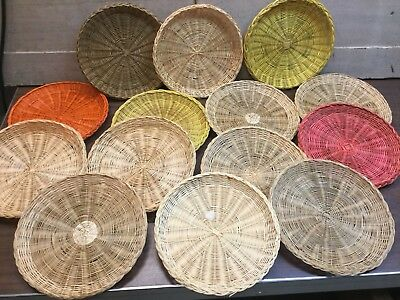 Lot Of 14 Hong Kong Weave Basket Plates People's Republic China Multi Colors