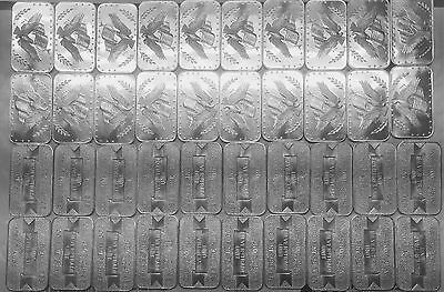 Lot of 10 Eagle And Flag Silver Trade Unit 1 Troy oz .999 Silver Art Bar Q8
