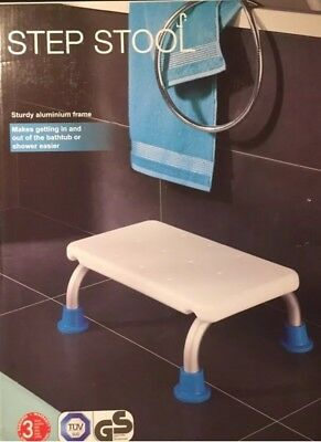 Shower Bathroom Step Stool Bathing Aid Adjustable Height Non Slip Rubber Feet