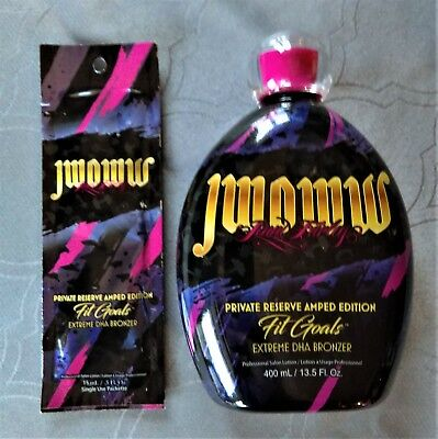 JWOWW FIT GOALS Private Reserve Amped Edition Tanning Lotion Bottle & Sample