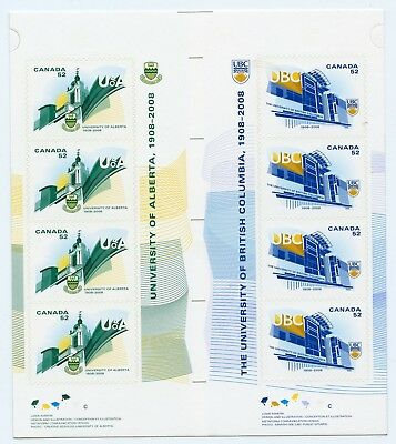 Weeda Canada 2264b VF NH booklet gutter pane, 2008 Universities issue CV $15