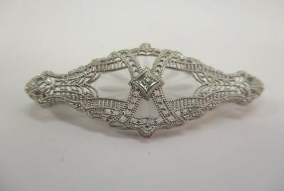 10K White Gold Carved Camphor Glass Diamond Pin Brooch