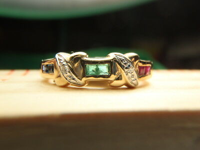 RUBY SAPPHIRE EMERALD & DIAMOND 14K Solid YELLOW GOLD Love Knot RING Size 6