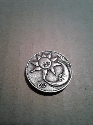 Hobo Nickel Sun/Moon front, 1937D Five Cents Cow Zombie back.