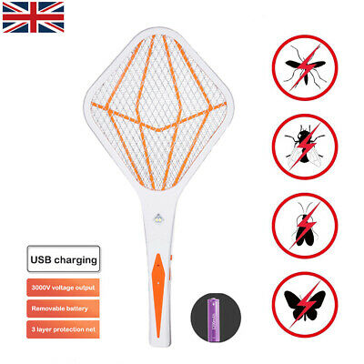 Electric Mosquito Fly Bug Insect Trap Racket Zapper Killer Swatter USB Charge UK