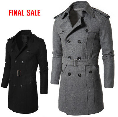 [FINAL SALE]Doublju Mens Long Sleeve PEA Wool Slim Fit Trench Coat