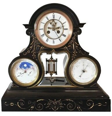French Brocot Escapement Perpetual Calendar Clock with Moon phase and Barometer