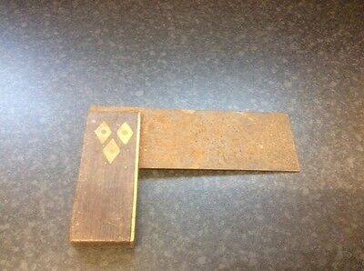 Antique Set Square, Wood and Brass with steel