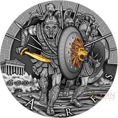 Niue Island 2017 ARES GOD OF WAR series GODS $2 Silver Coin Gold plated 2 oz