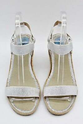 8a45850091 Fitzwell Silver Metallic Tan Espadrille Ankle Strap Wedges Size 8.5M