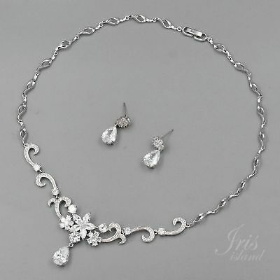 White Gold Plated Clear Cubic Zirconia Necklace Earrings Wedding Jewelry Set 807