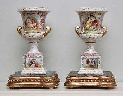 A Fine Pair Late c19th Antique Urns, Sèvres Style, Gilt Handles, Figural Panels