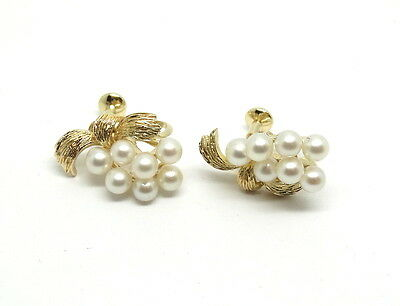 ba1998bf6 Rare Vintage MIKIMOTO Cluster Akoya Pearl 14K Gold Screw On Non Pierced  Earrings