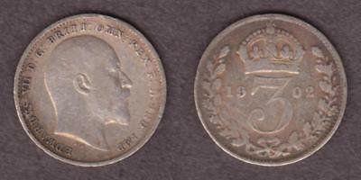 Great Britain Silver 3 Pence 1902 Edward Vii  ---  Rbae