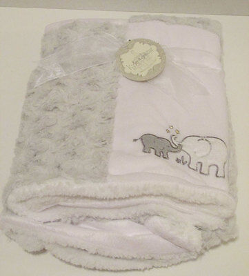 Kyle & Deena Baby Sherpa Blanket - Grey Elephants - Soft - BOY GIRL - NEW w/TAG
