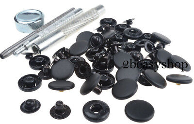 17mm x30 Black Matte Press Studs Kit Snap Popper Fastener Sewing Leather Buttons