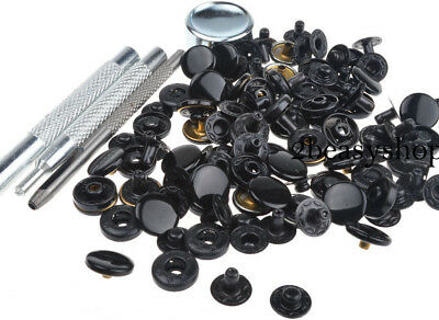 New 17mm 30 Sets Shinny Black Press Studs Kit Sewing Snap Fastener Buttons AU