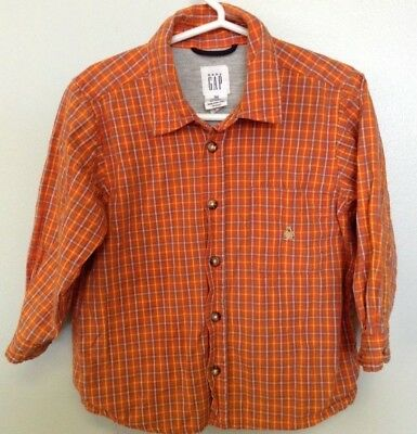 Baby Gap Toddler Boys Plaid Button Down Shirt 3 Years.Size 3xl Orange and blue.
