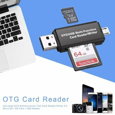 Micro USB OTG to USB 2.0 Adapter SD/Micro SD Card Reader For Smartphones/PC OZ