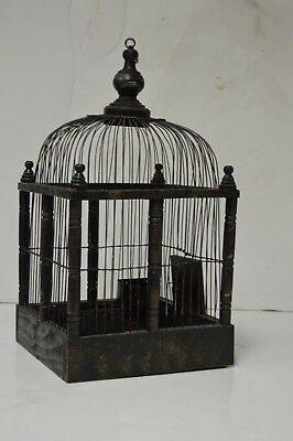Vintage Wooden Victorian Style Dome Top Bird Cage with Hinge Base for Easy Clean