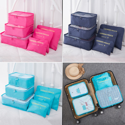AU Six Pieces Set Luggage Organiser Suitcase Storage Bags Packing Travel Cubes