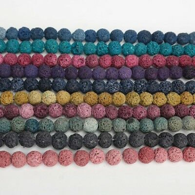 8mm Multi Color Lava Stone Volcanic Rock Round Loose Beads DIY Jewelry Bracelet