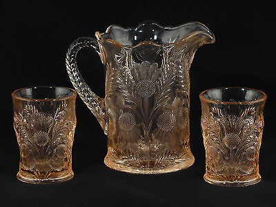 MOSSER Glass INVERTED THISTLE PINK PITCHER & 2 Tumblers