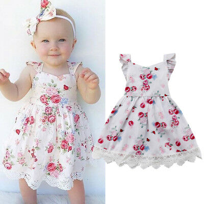 AU Kids Baby Flower Girls Dress Lace Floral Tulle Party Pageant Dresses Skirts
