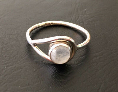 925 Sterling Silver Stackable Rainbow Moonstone Gemstone Stack Ring Size 6 7 8 9