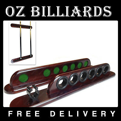 2 PCS Wooden Wall Mounted Cue Rack Holds 7 Billiard Pool Snooker Cues Mahogany