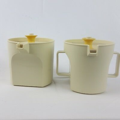 Vintage Almond&Harvest Gold Tupperware Creamer and Sugar Set (317) with lids