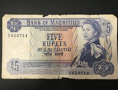 Mauritius Bank of Mauritius 5 Rupees Circulated Scarce Note A/5 619714 Five Bill
